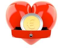 在心脏里面的欧洲硬币 图库摄影