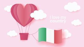 在心脏飞行形状的热空气气球在云彩的与意大利的国旗 纸艺术和裁减,充满爱的origami样式 向量例证