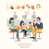 在快餐咖啡馆的家庭吃汉堡油炸物的:平的传染媒介食物 皇族释放例证