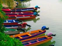 在怀特河停放的小船牙买加 免版税图库摄影
