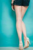 在性感的女性腿的银色高跟鞋时兴的鞋子 库存照片