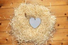 在恋爱地方的孤立蓝色木心脏 免版税库存图片