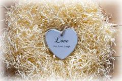 在恋爱地方的幽静蓝色木心脏 免版税图库摄影