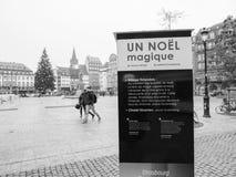 在恐怖袭击以后的史特拉斯堡法国在圣诞节市场上 库存照片