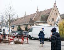 在恐怖袭击以后的史特拉斯堡法国在圣诞节市场上 免版税库存图片