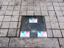 在恐怖袭击以后的史特拉斯堡法国在圣诞节市场上 免版税库存照片