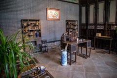 在恢复,广州地区,明代和清朝一般家庭的老材料里面的陈家祠阅览室, a 免版税库存照片