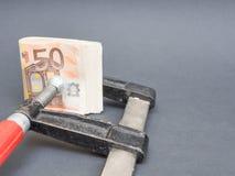 在恶习的欧洲金钱 免版税库存照片