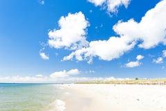 在恶劣环境测井半岛的海滩 库存图片