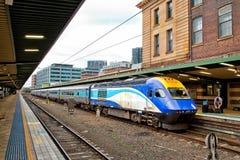 在悉尼中央驻地的XPT火车 库存图片