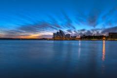 在悉尼歌剧院悉尼澳大利亚的日出 免版税库存照片