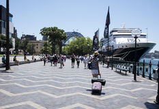 在悉尼港桥附近靠码头的巡航划线员 免版税库存照片