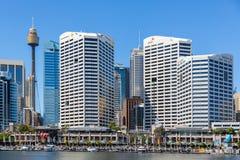 在悉尼附近的市中心的达令港 免版税库存图片