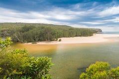 在悉尼,新南威尔斯, Aus附近的皇家国家公园风景 免版税库存图片