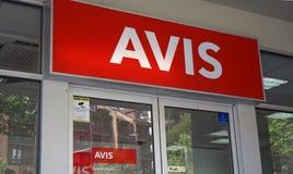 在悉尼CBD分支入口上的阿维斯商标 库存照片