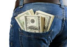 在您的口袋的金钱 免版税库存图片