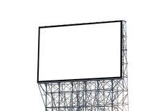 在您的广告的白色背景隔绝的空白的广告牌 库存照片