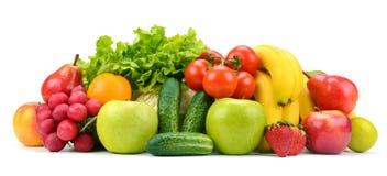 在您的p的白色水果和蔬菜的隔绝汇集 库存照片