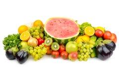 在您的p的白色水果和蔬菜的隔绝汇集 图库摄影
