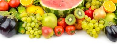 在您的p的白色水果和蔬菜的隔绝汇集 免版税库存图片