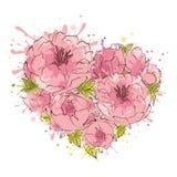 在情人节开花背景--心脏 免版税库存图片