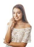 年轻在情感可爱的女孩的白色关闭隔绝的秀丽妇女微笑的作梦 免版税图库摄影