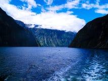 在惊人的Milford Sound,新西兰的一个剧烈的场面 图库摄影