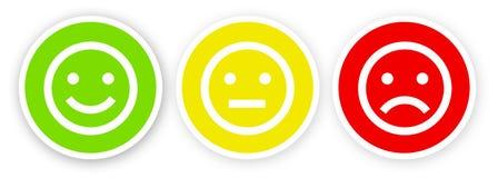 在愉快白色的背景的3面带笑容,满意,不满意和不快乐 皇族释放例证