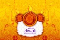 在愉快的屠妖节假日背景的灼烧的diya印度的轻的节日的 皇族释放例证