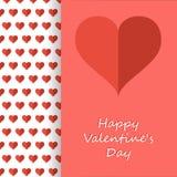 在愉快的情人节卡片里面的心脏 免版税库存照片