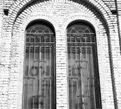 在意大利欧洲大理石和圆花窗的古色古香的contruction w 库存图片