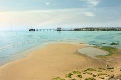 在意大利海滨的日出 库存图片