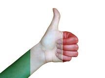 在意大利的旗子报道的手 免版税库存图片