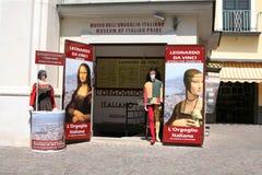 在意大利自豪感博物馆的列奥纳多・达・芬奇陈列 图库摄影
