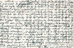 在意大利语老手写的文本 免版税库存照片