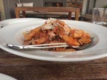 在意大利餐馆的面团在布鲁斯堪培拉 图库摄影