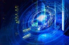 在意想不到的相称数字计算机主机背景的未来派技术计划  免版税库存照片