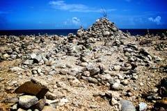 在愿望岩石庭院阿鲁巴的形成 库存图片