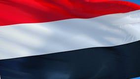 在慢动作的也门旗子无缝使成环与阿尔法 库存例证