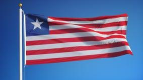 在慢动作的利比里亚旗子无缝使成环与阿尔法 皇族释放例证
