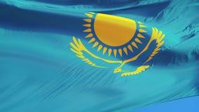 在慢动作的哈萨克斯坦旗子无缝使成环与阿尔法 皇族释放例证