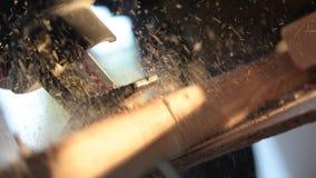 在慢动作的木切口 交换锯 股票视频
