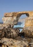 在戈佐岛海岛上的天蓝色的窗口  图库摄影