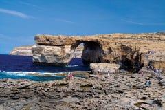 在戈佐岛(Dwejra)的Azur窗口 免版税库存照片