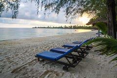 在戈公岛省柬埔寨王国的白色海滩 免版税库存图片