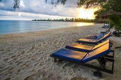 在戈公岛省柬埔寨王国的白色海滩 免版税库存照片
