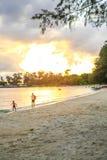 在戈公岛省柬埔寨王国的白色海滩 库存图片