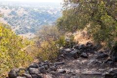 在戈兰高地的观点在六角形水池附近在以色列 库存图片