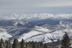 在戈尔范围的有风冬日,比弗河滑雪地区, Avon,科罗拉多 库存照片
