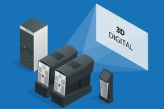 在戏院的现代放映机 电影摄影术的设备 数字式3d 平的3d等量传染媒介例证 数字式3d 库存照片